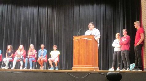 Freshman Jordan Ma addresses the Class of 2019 on Sept. 18. Ma, along with Ashley Jaquez, were elected as class senators.