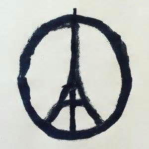 After the terrorist attacks at various  locations in Paris on November 13, this  image went viral on social media. The  design represents sympathy for the  victims.