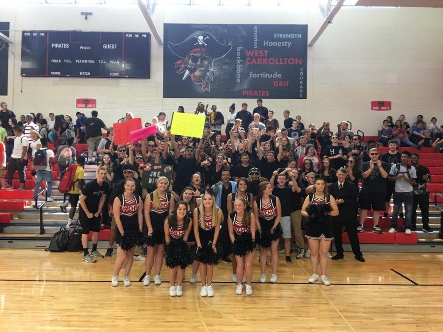 Class of 2017 Seniors at the WCHS assembly from this year showing their Pirate pride!