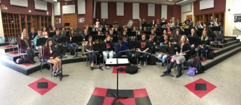 The WCHS Concert Band rehearsing during 7th period.