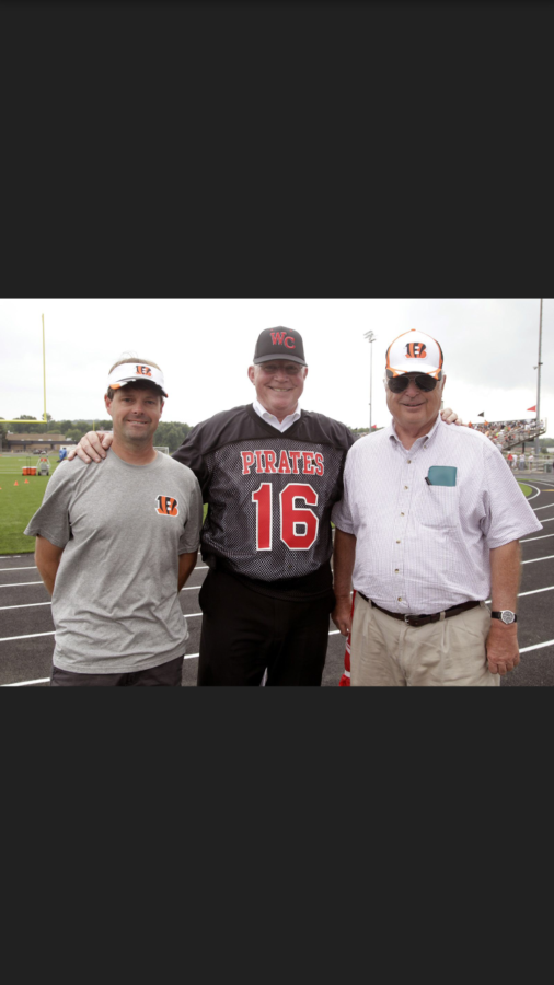 Dr.+Clifford+with+his+grandson+Paul+%28right%29+and+Mike+Brown+%28left%29%2C+the+manager+of+the+Cincinnati+Bengals+at+the+Bengals+practice+held+here+at+WCHS.+