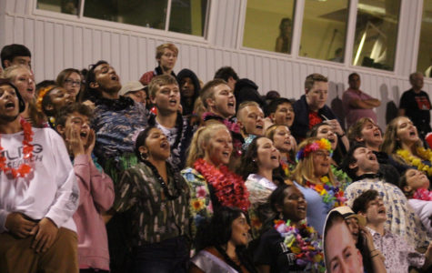 Students cheering at the 2017 homecoming game at our home field against Fairmont. Students dressed tropical and screamed with spirit.