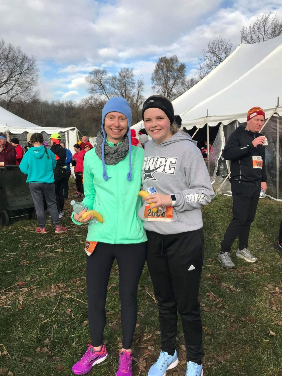 Ms. Parks and WCHS alumni, Gracie Johnson, at the Turkey Trot in Miamisburg.