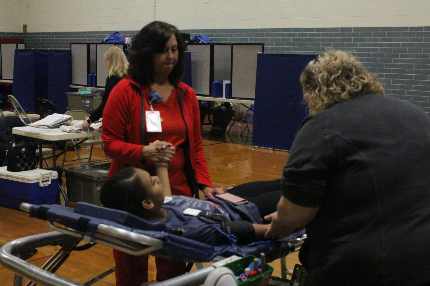 Jayla Pruitt-Switzer gives blood at last year's Blood Drive.