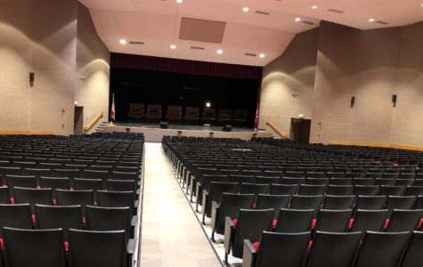 Guile Auditorium, where all theatrical events are held during and after school. The empty seats above will be overflowed by the whole student body on March 21, day of in-school talent show.