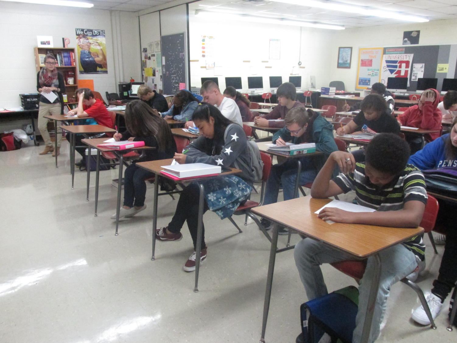 Students working in Mrs. Parido class. WCHS, senior's, struggle with the changes of the examption policy.