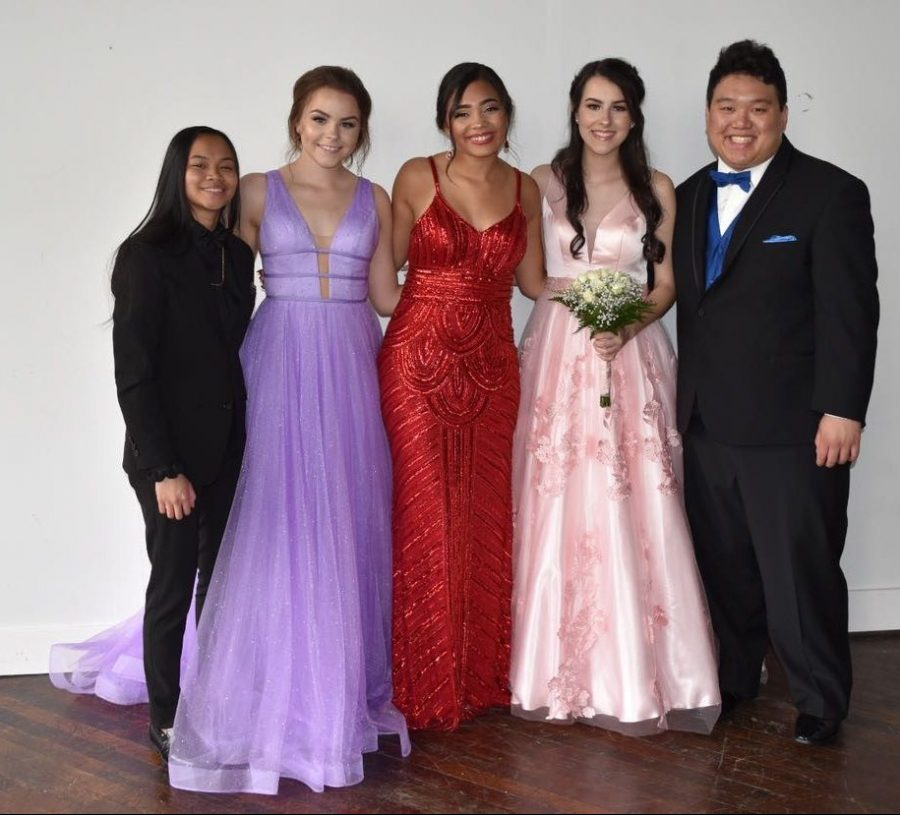 Students from the Class of 2019 (Erecca Liva, Melinda Owens, Macy Patton, Melinda Owens, and Jordan Ma) pose before their Prom. Due to COVID-19. the Class of 2020 did not have a Prom. The junior and seniors this year will get to have a Prom, while observing some social distancing guidelines.